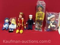 Blue bonnet sue, swiss miss, burger king, cracker jack, jack frost & other dolls