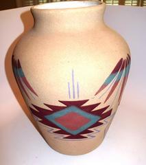 "Navajo sandpainted pottery vase - 11 1/2"""