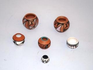 4 minature Native American pottery vases signed- Navajo and Acoma