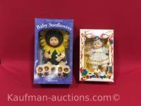 Baby sunflowers and happy birthday baby dolls