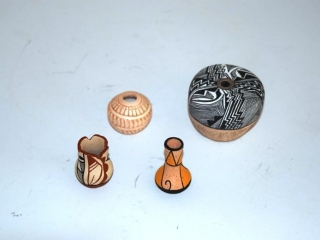 3 minature Native American pots by various artists -1 wooden carved- signed