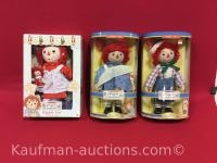 3 Raggedy Ann & Andy Dolls / 2 are Porcelain