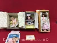 Danbury Mint, Kelly's kitchen and romantic flower maidens porcelain dolls