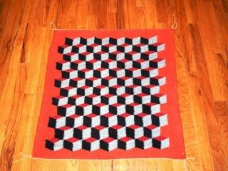 Navajo hand-loomed rug - red, black & gold