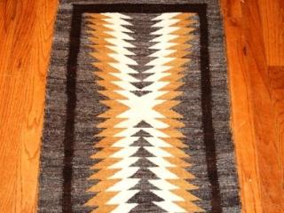 Native American hand-loomed rug - red, tan, beige