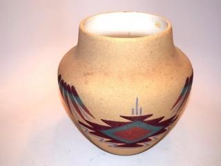 """Navajo sandpainted pottery wedding vase - 11"""" tall."""