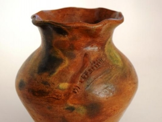 """Native American hand thrown pottery wedding pitcher - 8"""" tall"""
