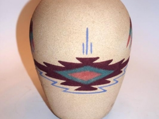 """Pair of Navajo sandpainted pottery vases - 7"""""""