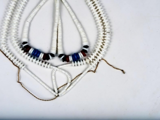 "Multi strand fetish necklace with turquiose, onyx and bone beadings 18"""