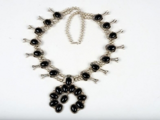 """Sterling silver squash blossom and onyx necklace with beautiful pendant piece signed Eaezr 17 1/2"""""""