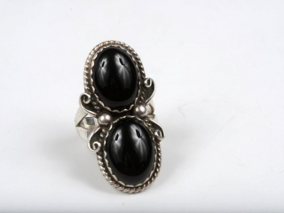 Sterling silver and 2 onyx ring