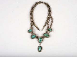 """Sterling silver and turquoise necklace by Henry King, Marianna Lake, NM 16 1/2"""""""
