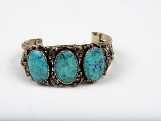 """Sterling silver and 3 turquoise stoned cuff by Henry King-marked 7 1/2"""""""