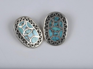 Oval Sterling silver and turquoise earrings--clipped
