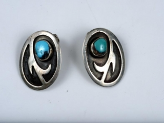 Sterling silver and turquoise earrings--clipped