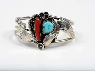 """Sterling silver turquoise and coral cuff with open feather pattern signed Dashner 6 1/2"""""""