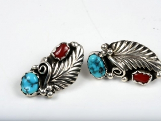 Sterling silver turquoise and coral earrings marked JJ --pierced