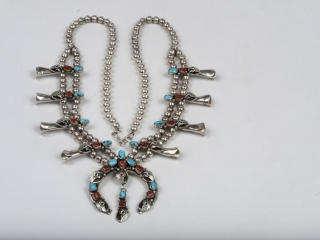 """Sterling silver turquoise and coral squash blossom necklace marked PP- 15"""""""