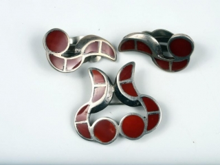 Sterling silver and coral brooche and earrings--clipped