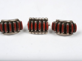Sterling silver and coral ring and earrings--pierced