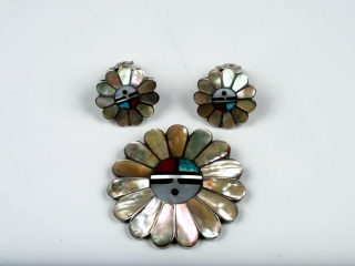 Hopi Sun God sterling inlaid pearl, turquoise and coral pendant/brooche and earrings--clipped