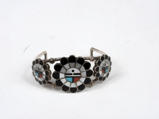 """Hopi Sun God sterling inlaid pearl, turquoise and coral cuff 6 1/2"""""""