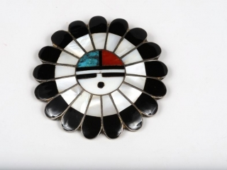 Hopi Sun God sterling inlaid pearl, turquoise and coral pendant