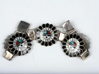 "Hopi Sun God sterling inlaid pearl, turquoise and coral 5 (desc) bracelet 8"""