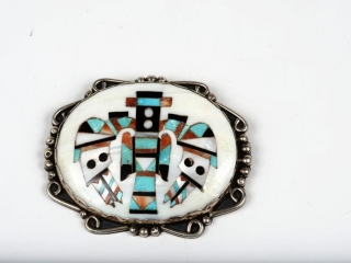"""Sterling silver turquoise, coral and onyx mother of pearl """"kachina doll"""" pendant/brooche 3"""" oval dia"""