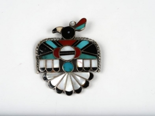 """Sterling  silver turquoise, onyx and mother of pearl inlaid quail """"kachina"""" brooche 2 1/4"""""""