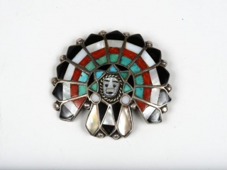 """Sterling silver turqouise, onyx, coral and mother of pearl  Indian headdress brooche 1 1/2"""""""