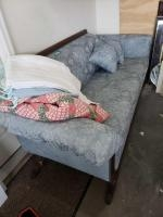 """Vintage 80""""L parlor sofa w/ 5 table clothes Parlor sofa has broken claw foot in the back"""