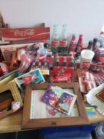 CocaCola items-bottles, tablecloth weights, die cast, Barbie, figurines, ornaments See all photos!!!