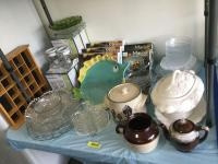 Butter warmers, serving dishes, cookie jar, soup tureen missing ladle, dinner plate/salad plate/bowl...