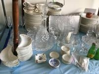 Stemware, nut crackers and picks, Squirt S&P shakers, dinner plates, punch set, honey dispenser and...