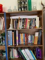 All items on shelf -cookbooks, vases, walking camel  toys, Iowa Hawkeye Gold 1981 commemorative cans