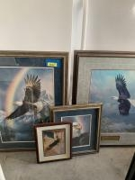 4 pieces of framed artwork with eagles