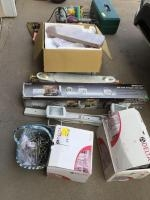 Home items-ceiling fan, drawer pulls, ceiling fan blades, halogen task lights,tackle box full of g...