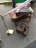 Kidney table, wall sconce, brass tone adjustable floor lamp, linens and portable clothes line