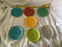 """Seven Fiesta 6"""" plates-one does have a hairline crack"""