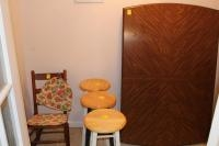 Rocking chair, 3 bar stools, tabletop with leaves (no table legs)