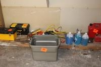 Stanley tool box, windshield washer fluid, gas cans and misc. tools