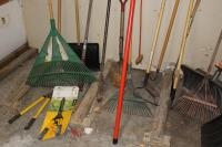 Rakes, shovels, hoes, garden sheers, spud bar, tree trimmers and misc. hand tools
