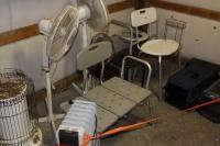 (2) Space heaters, animal totes, handicap toilet seats, fans and misc.