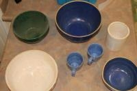 Stoneware bowls and 2 cups