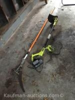 Ryobi battery weed eater, and tree trimmer