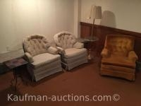 3 ups chairs, floor lamp & tile top end Stand
