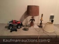 Eagle lamp, remote controlled toy truck & misc