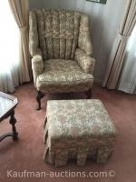 2 antique ups chairs & ottoman