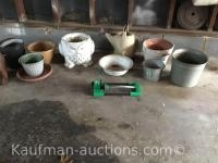 Misc planters/ Includes concrete owl planter and galvanized buckets